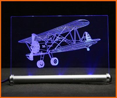 Doppeldecker Flugzeug LED Leuchtschild