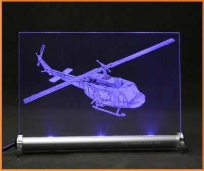 Bell UH 1D Fotogravur Helicopter LED Leuchtschild