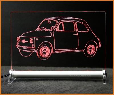 Fiat 500 Nuova Topolino LED Leuchtschild