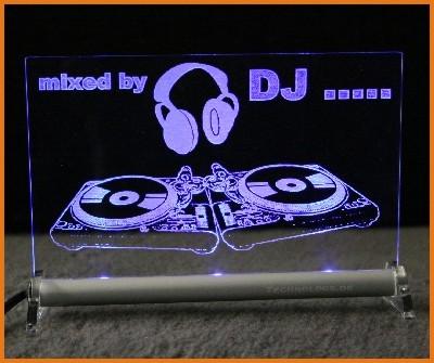 DJ + Dein Name LED Leuchtschild