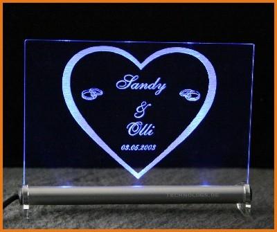Herz + Trauringe + Wunschname + Datum LED Leuchtschild