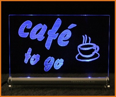 Cafe to go LED Leuchtschild