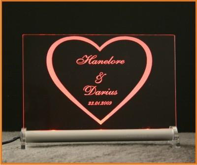 Herz + Wunschname + Datum LED Leuchtschild
