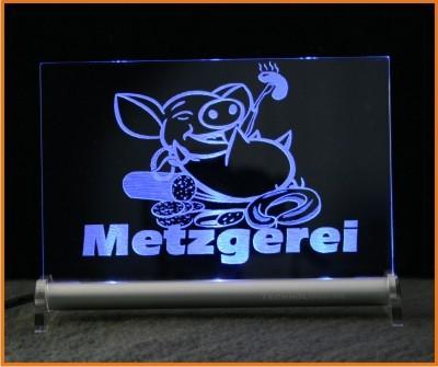 Metzgerei LED Leuchtschild