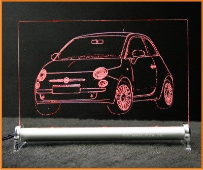 Fiat 500 Retro Design LED Leuchtschild